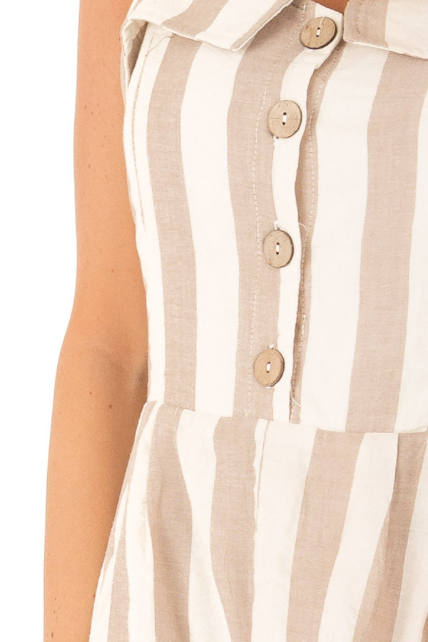 Taupe and Oatmeal Button Up Romper With Stripes detail