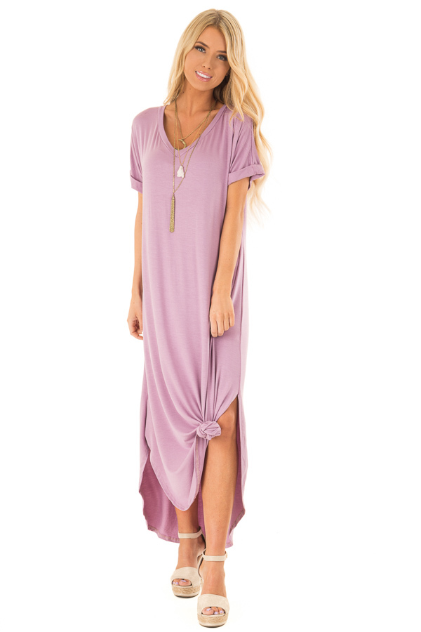 Lilac V Neck T Shirt Knit Maxi Dress with Side Slits front full body