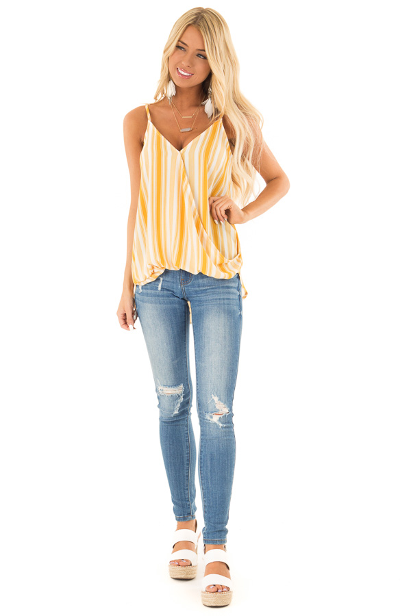 Daffodil Yellow and White Striped Surplice Tank Top front full body