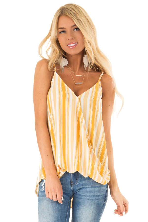 Daffodil Yellow and White Striped Surplice Tank Top front close up