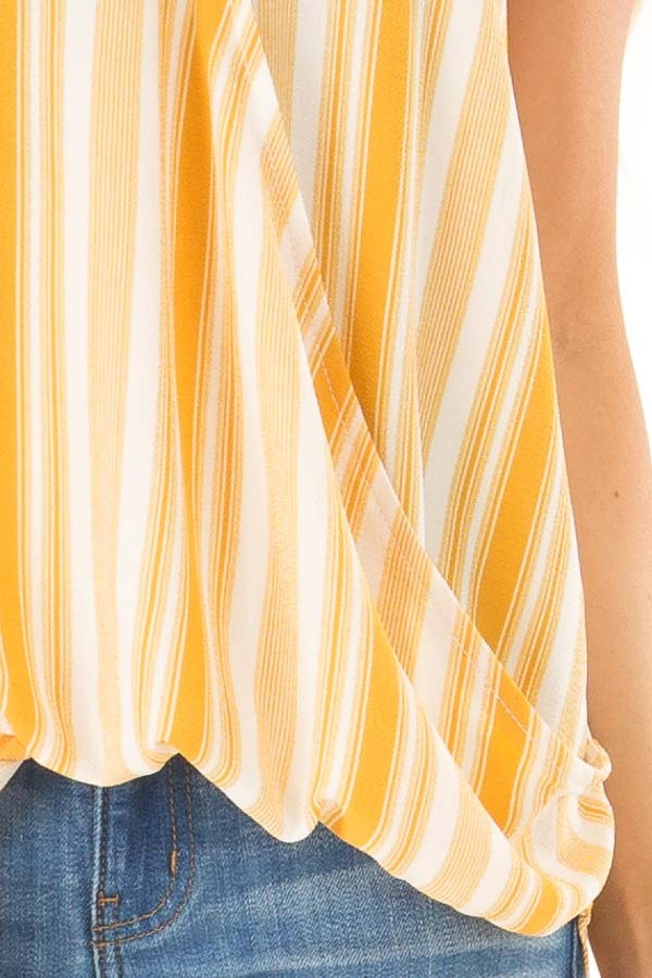 Daffodil Yellow and White Striped Surplice Tank Top detail