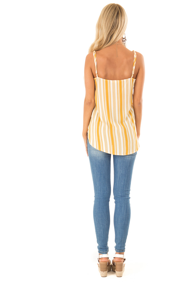 Daffodil Yellow and White Striped Surplice Tank Top back full body