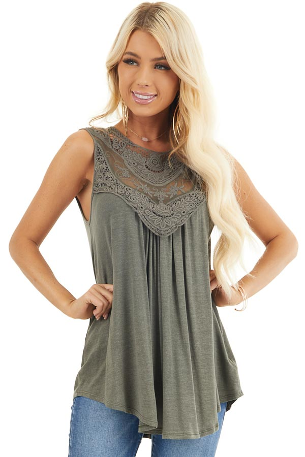 Olive Green Flowy Sleeveless Top with Sheer Crochet Details front close up