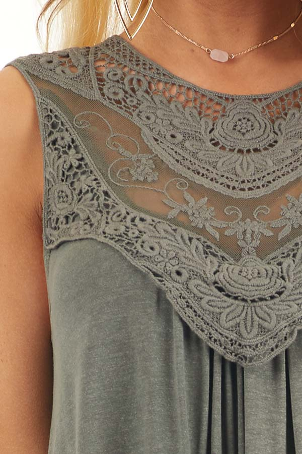 Olive Green Flowy Sleeveless Top with Sheer Crochet Details detail