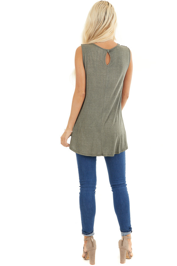 Olive Green Flowy Sleeveless Top with Sheer Crochet Details back full body