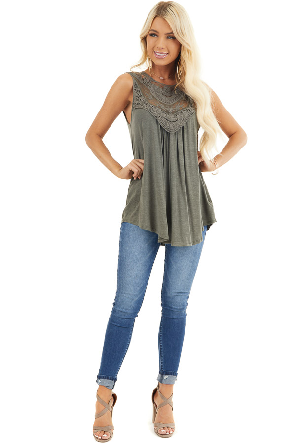 Olive Green Flowy Sleeveless Top with Sheer Crochet Details front full body