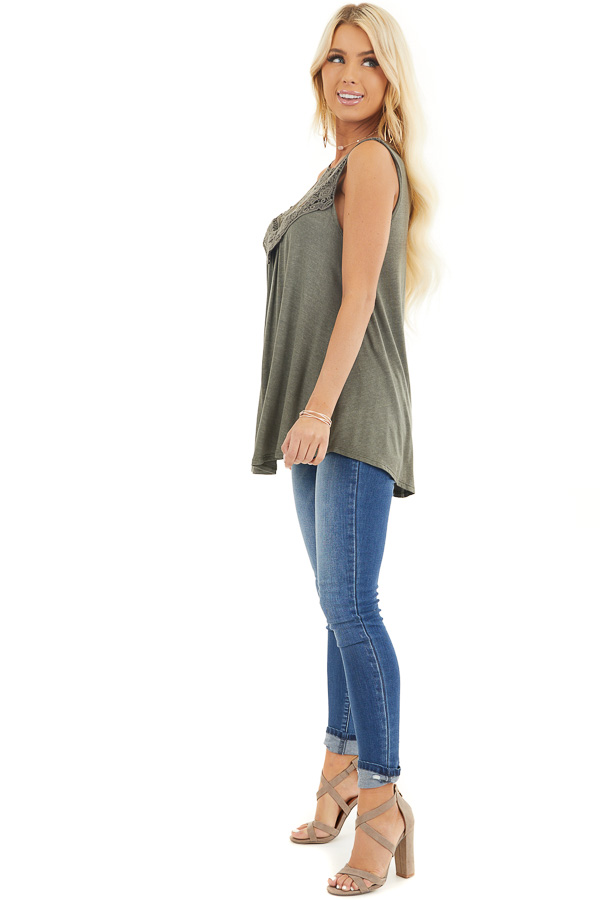 Olive Green Flowy Sleeveless Top with Sheer Crochet Details side full body