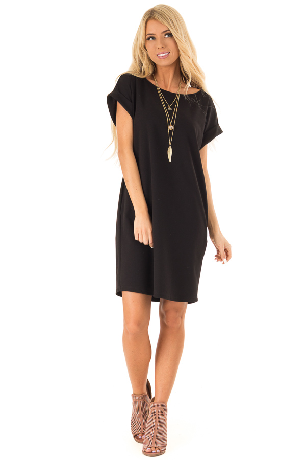 Black Shift Dress with Short Cuffed Sleeves and Pockets front full body