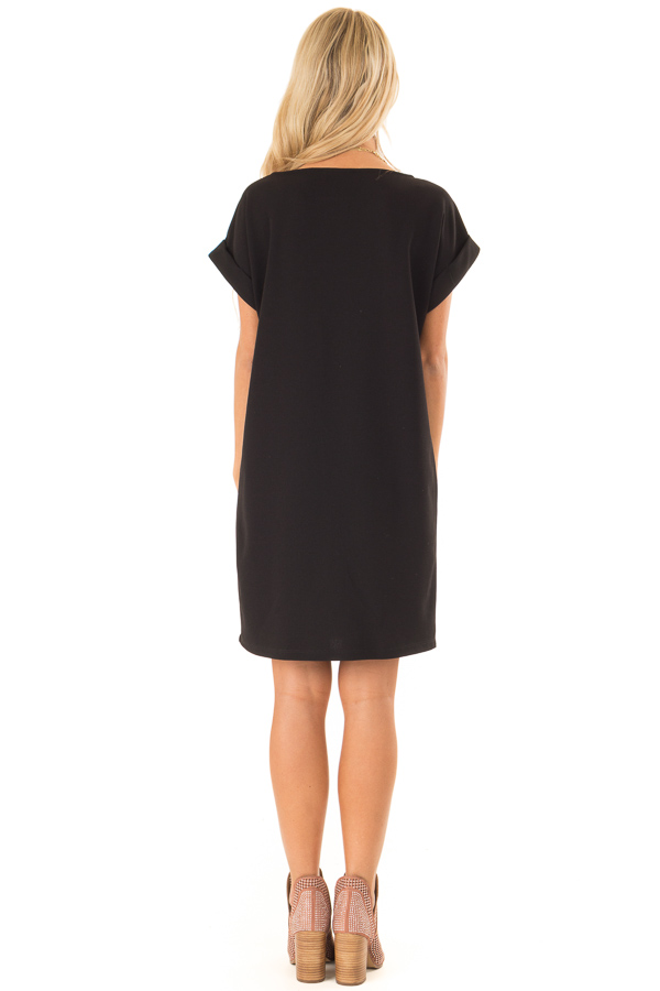 Black Shift Dress with Short Cuffed Sleeves and Pockets back full body