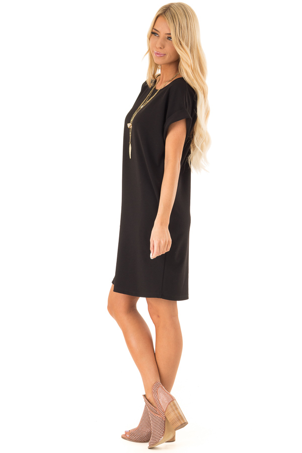 Black Shift Dress with Short Cuffed Sleeves and Pockets side full body