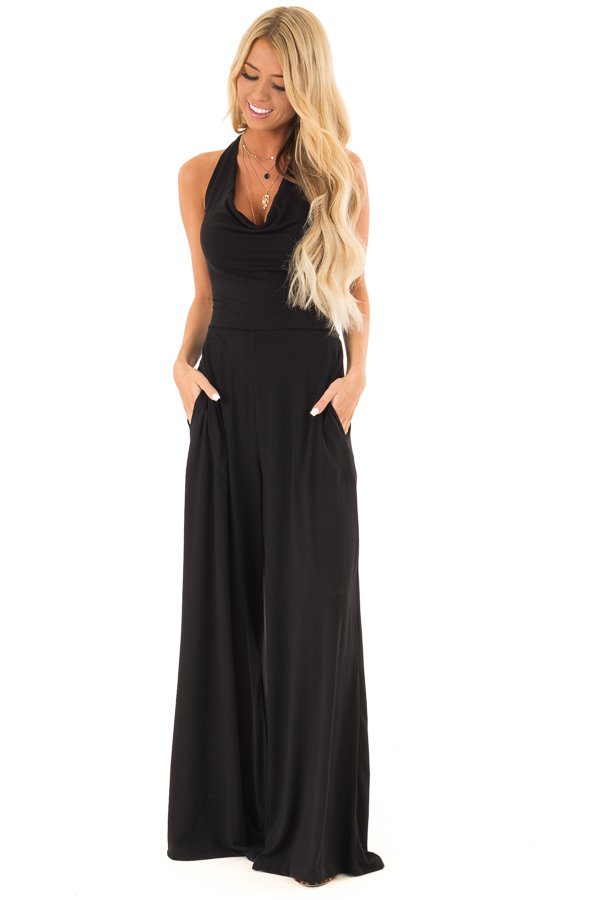 Raven Black Halter Wide Leg Jumpsuit with Tie Detail front full body