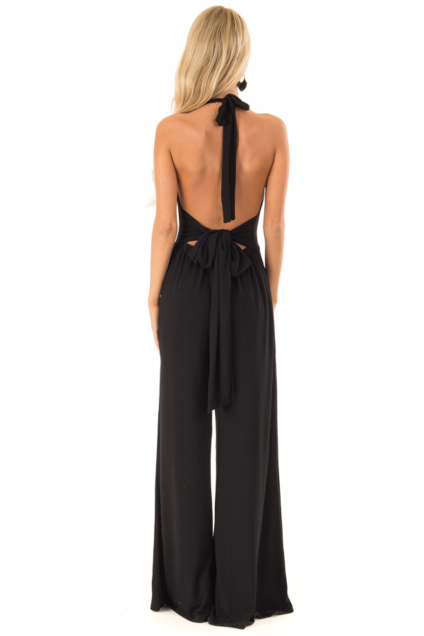 Raven Black Halter Wide Leg Jumpsuit with Tie Detail back full body