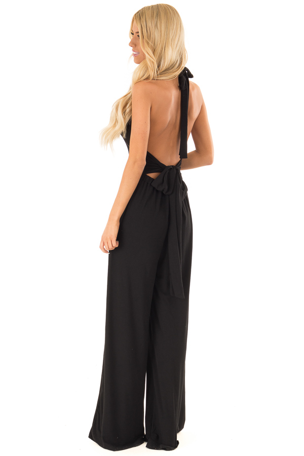 Raven Black Halter Wide Leg Jumpsuit with Tie Detail side full body