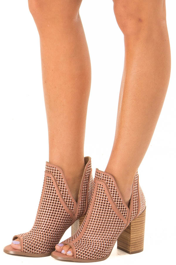 Dusty Rose Perforated Heeled Bootie with Jewel Detail front side view