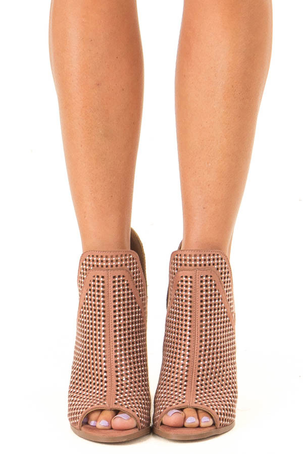 Dusty Rose Perforated Heeled Bootie with Jewel Detail front view