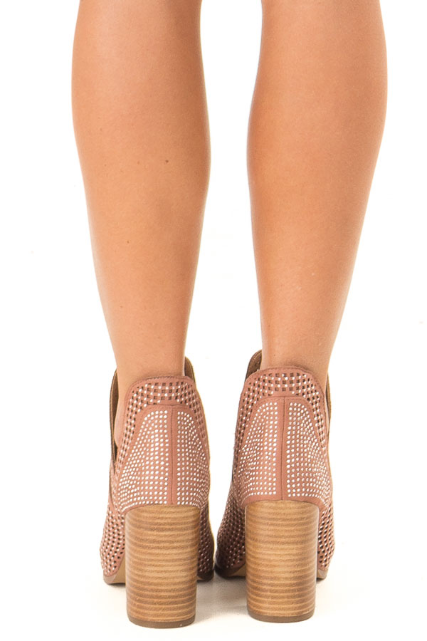 Dusty Rose Perforated Heeled Bootie with Jewel Detail back view