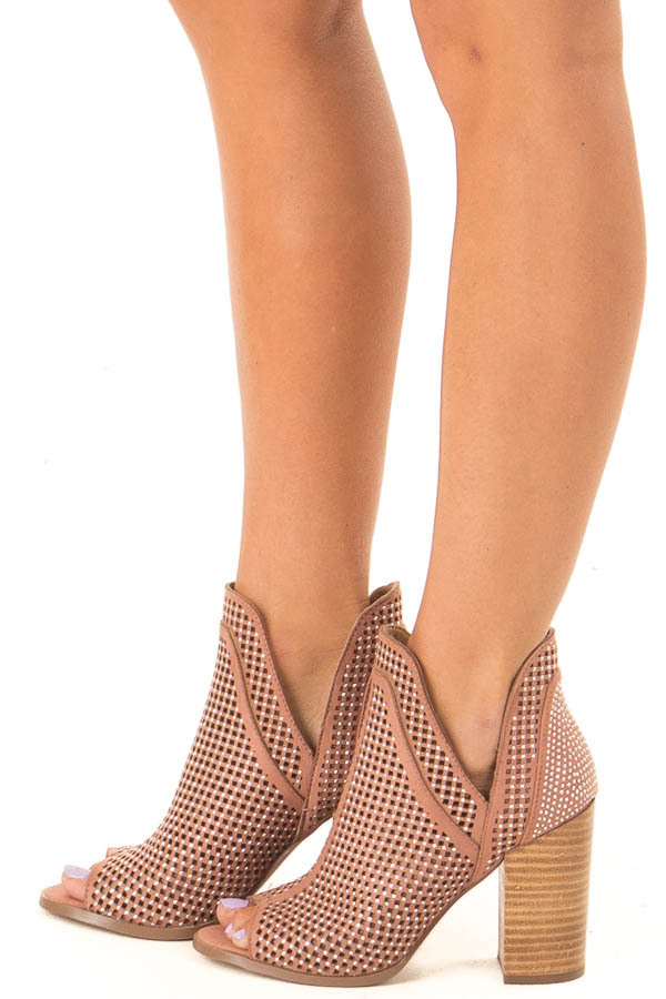 Dusty Rose Perforated Heeled Bootie with Jewel Detail side view
