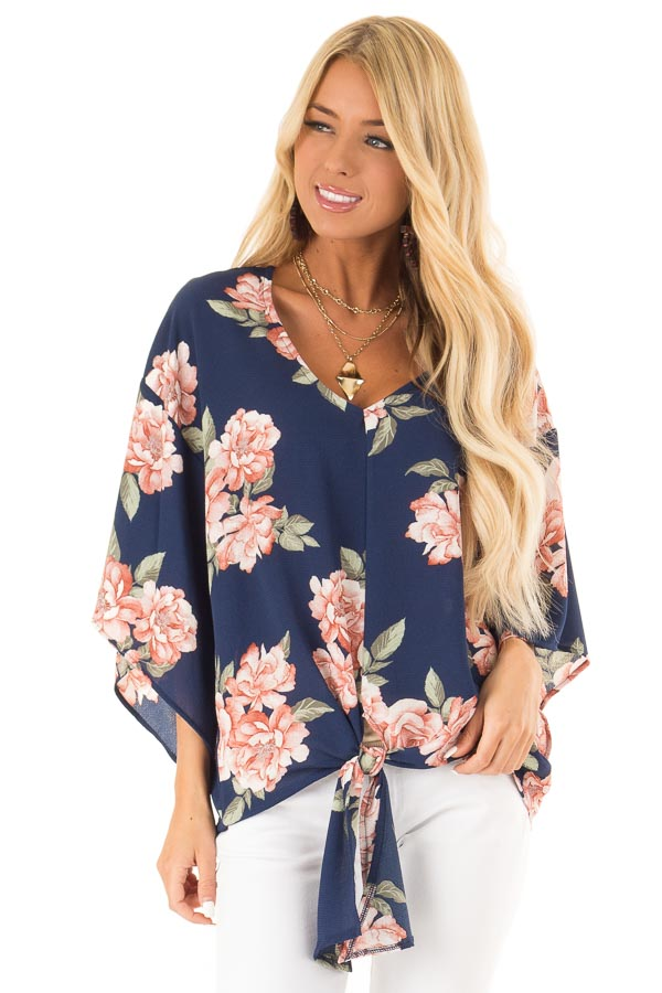Navy Floral Print V Neck Dolman Sleeved Top with Front Tie front close up