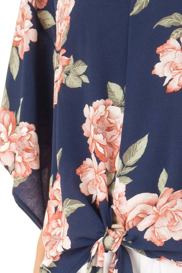 Navy Floral Print V Neck Dolman Sleeved Top with Front Tie detail