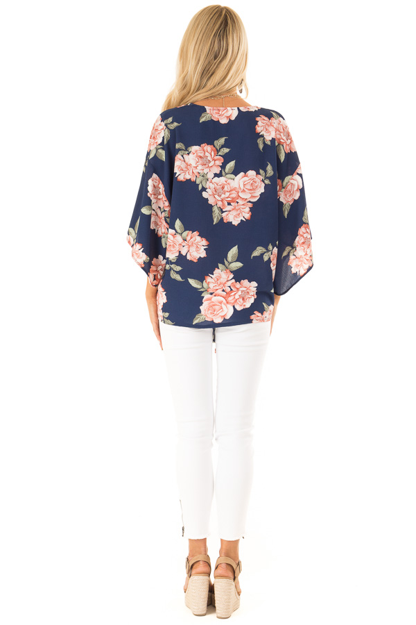 Navy Floral Print V Neck Dolman Sleeved Top with Front Tie back full body