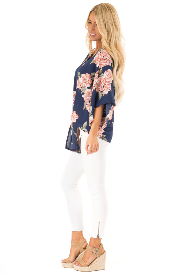 Navy Floral Print V Neck Dolman Sleeved Top with Front Tie side full body