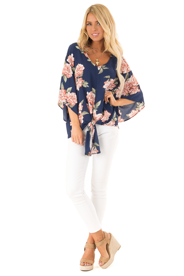Navy Floral Print V Neck Dolman Sleeved Top with Front Tie front full body