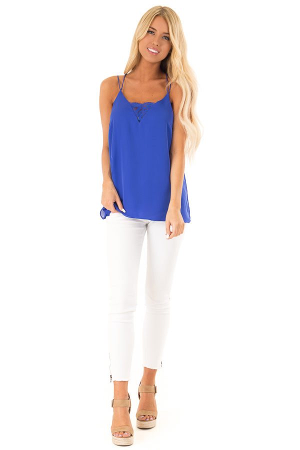 Cobalt Tank Top with Lace Neckline and Strappy Details front full body