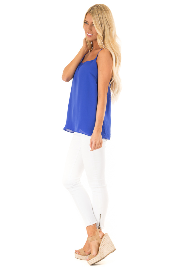 Cobalt Tank Top with Lace Neckline and Strappy Details side full body