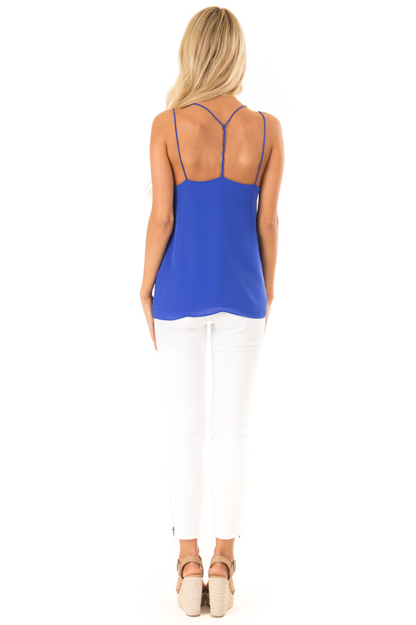 Cobalt Tank Top with Lace Neckline and Strappy Details back full body