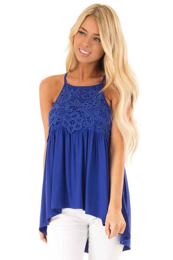 Royal Blue Sleeveless Top with Crochet Lace Overlay front close up