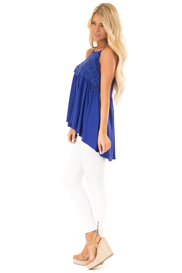 Royal Blue Sleeveless Top with Crochet Lace Overlay side full body