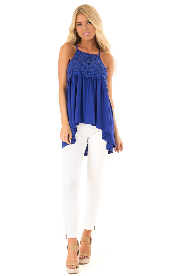 Royal Blue Sleeveless Top with Crochet Lace Overlay front full body