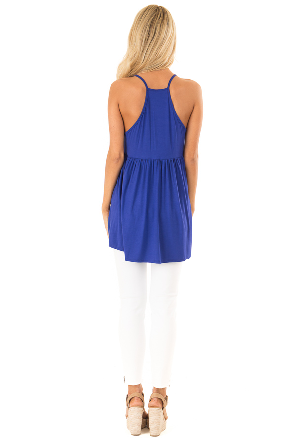 Royal Blue Sleeveless Top with Crochet Lace Overlay back full body
