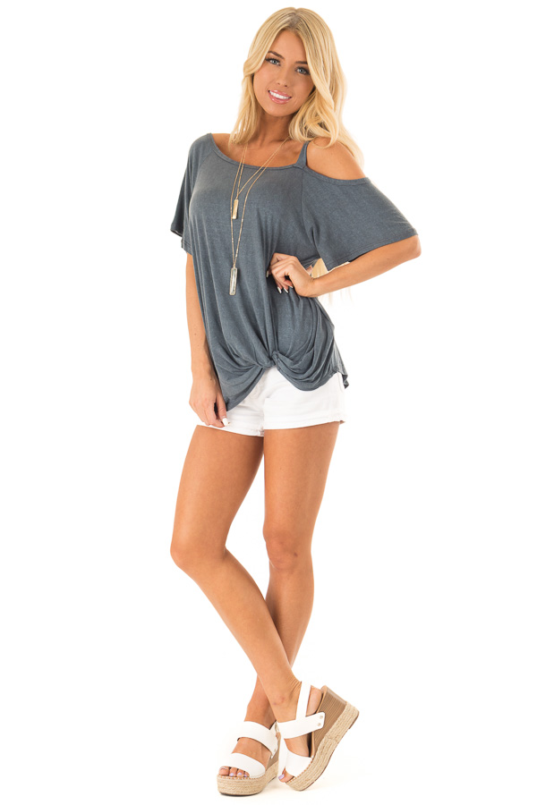 Storm Grey Cold Shoulder Top with Front Twist front full body