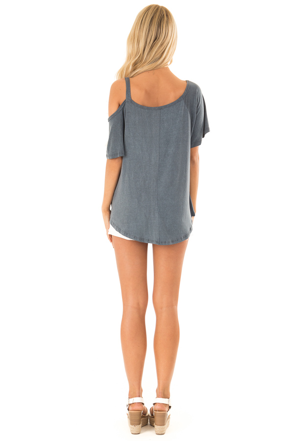 Storm Grey Cold Shoulder Top with Front Twist back full body