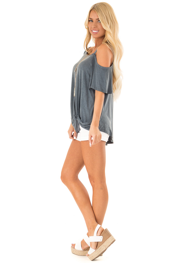 Storm Grey Cold Shoulder Top with Front Twist side full body