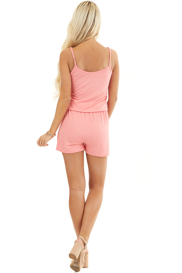 Coral Sleeveless Romper with Front Tie and Pockets back full body