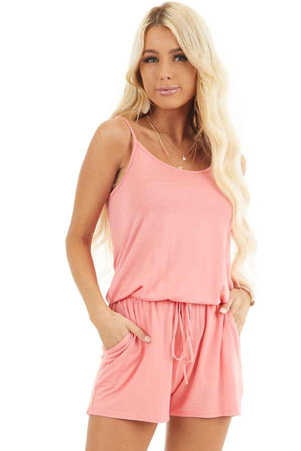 Coral Sleeveless Romper with Front Tie and Pockets front close up