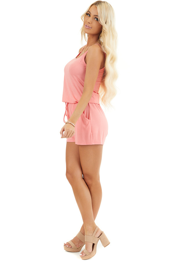Coral Sleeveless Romper with Front Tie and Pockets side full body