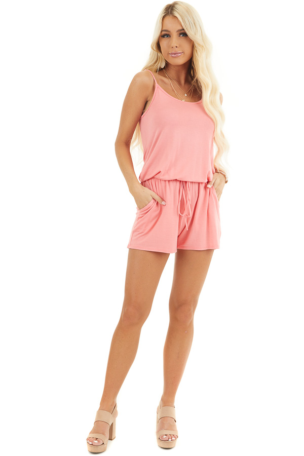Coral Sleeveless Romper with Front Tie and Pockets front full body