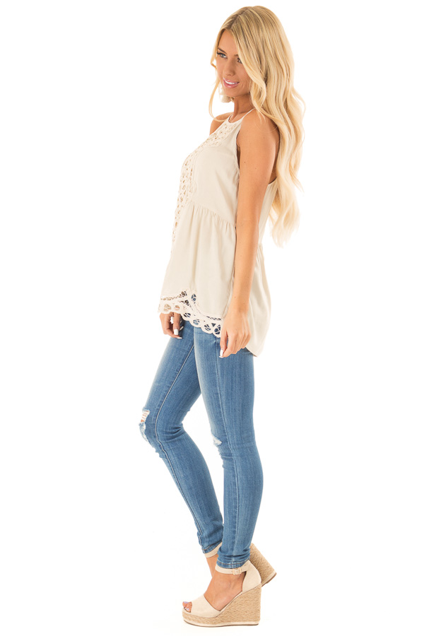 Beige Tank Top with Crochet Front and Scalloped Hem side full body