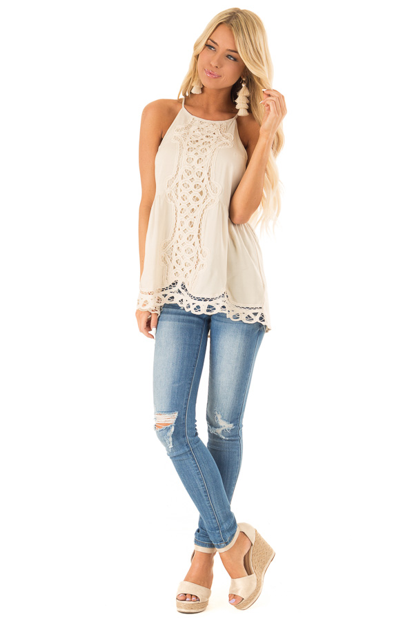 Beige Tank Top with Crochet Front and Scalloped Hem front full body