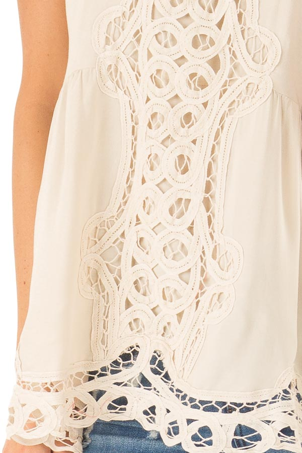 Beige Tank Top with Crochet Front and Scalloped Hem detail