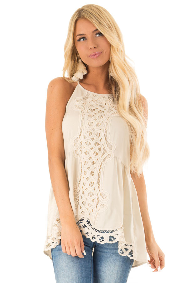 Beige Tank Top with Crochet Front and Scalloped Hem front close up