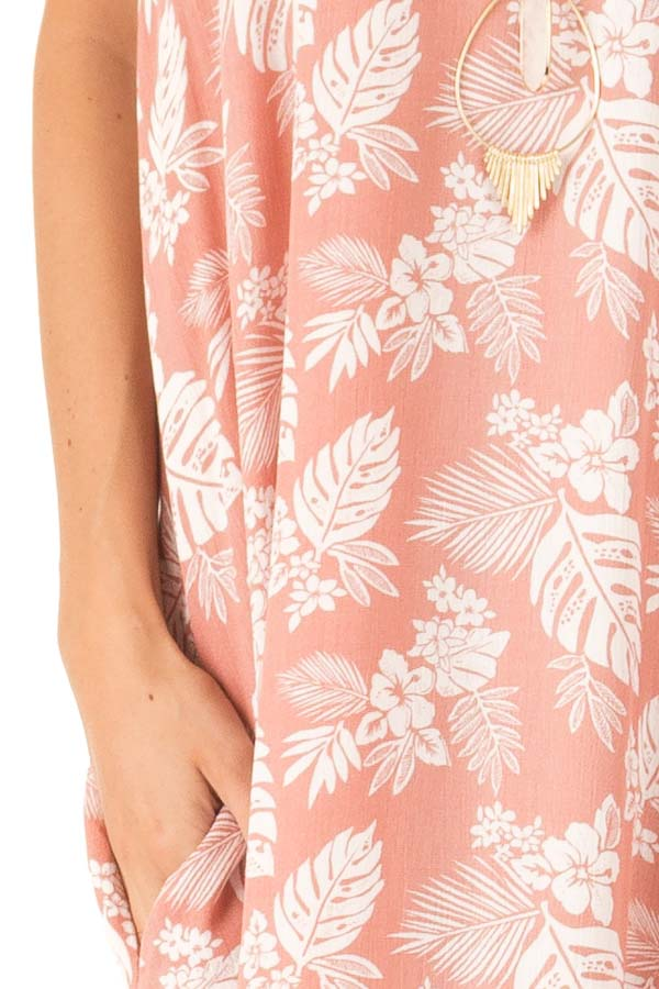 Salmon Floral Print Long Maxi Dress with Side Pockets detail