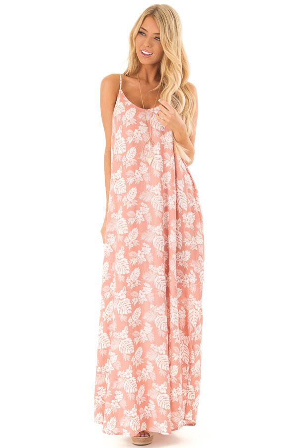 Salmon Floral Print Long Maxi Dress with Side Pockets front full body