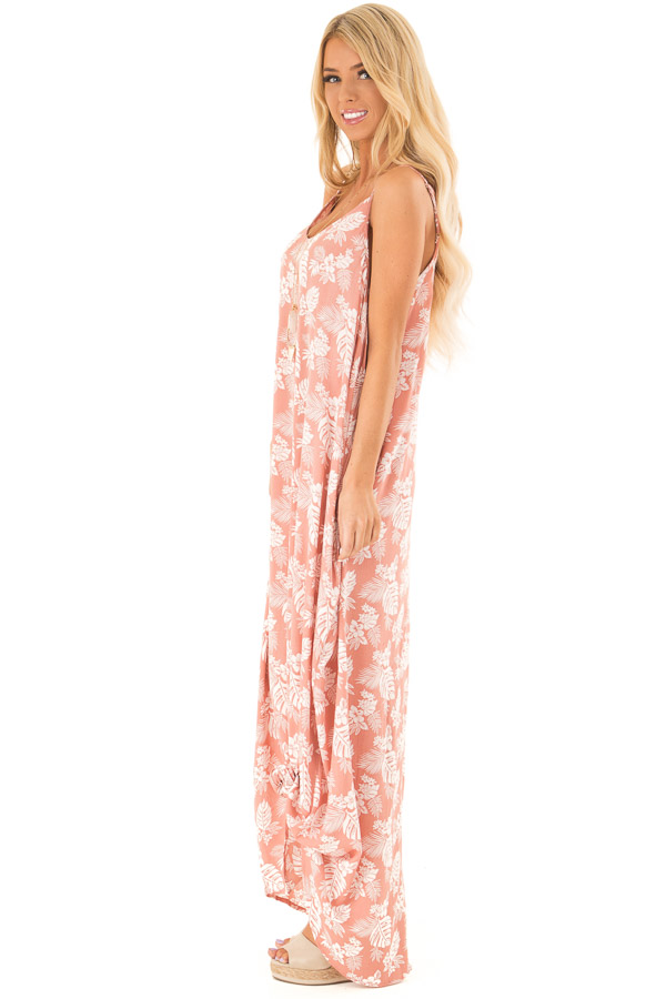 Salmon Floral Print Long Maxi Dress with Side Pockets side full body