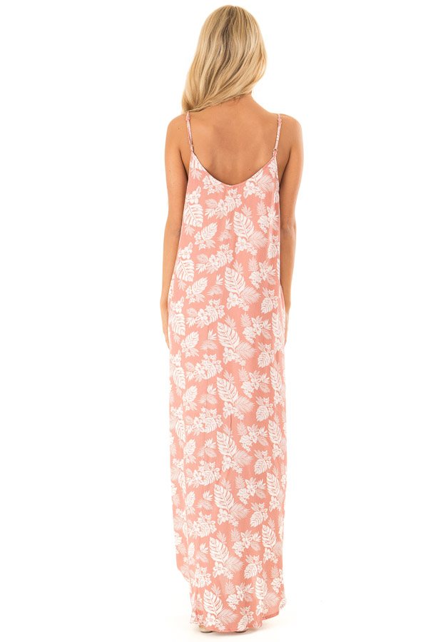 Salmon Floral Print Long Maxi Dress with Side Pockets back full body