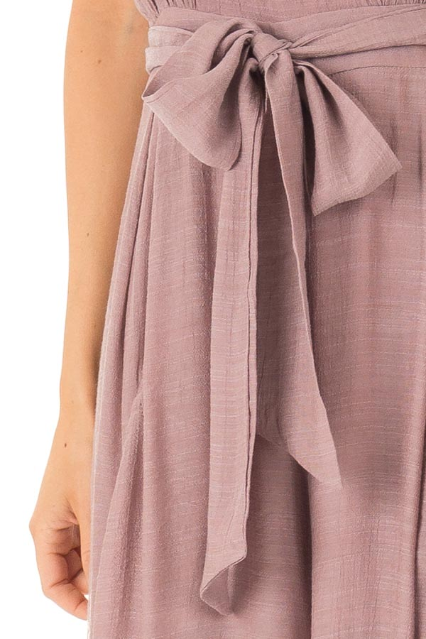 Mauve Jumpsuit with Wide Leg Side Slit Detail detail