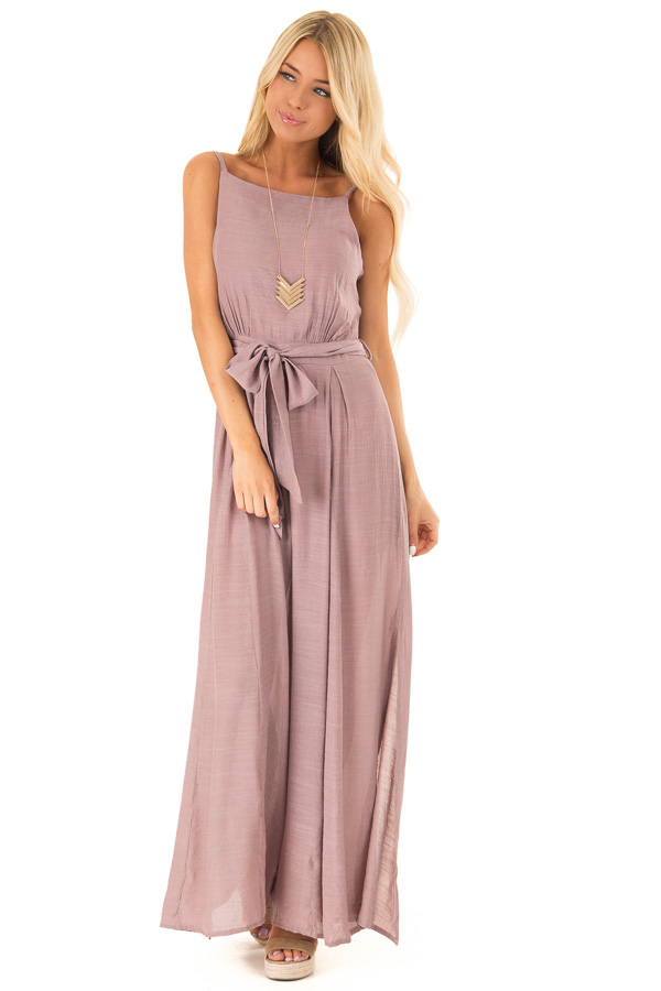 Mauve Jumpsuit with Wide Leg Side Slit Detail front full body